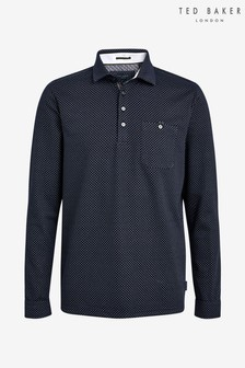 Ted Baker Blue Outof Long Sleeved Micro Print Poloshirt