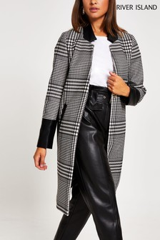 River Island Black Check Windsor Collarless Coat