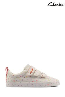 Clarks Off White Foxing Print K Canvas Shoes