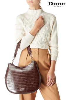 Dune London Demillie Brown Plain Synthetic Embossed Shoulder Bag
