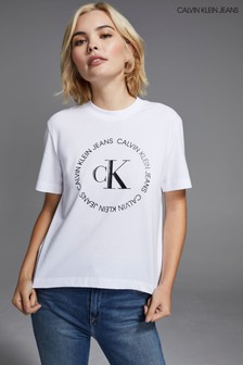 Calvin Klein Jeans White Round Logo T-Shirt