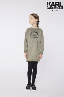 Karl Lagerfeld Gold Logo Sweater Dress