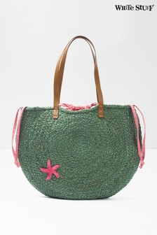 White Stuff Green Amal Half Moon Jute Bag