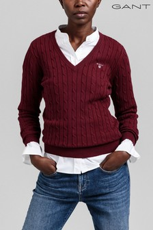 GANT Red Stretch Cotton Cable V-Neck Jumper