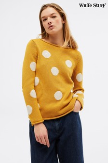 White Stuff Yellow Polka Spot Jumper