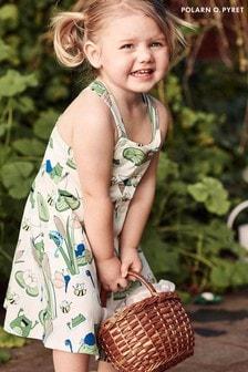 Polarn O. Pyret White Organic Cotton Pond Print Dress