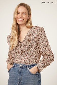 Warehouse Floral Swirl Ruffle Front Top