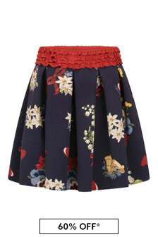Girls Navy Floral Print Skirt