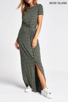 River Island Khaki Stripe Trisha Maxi Dress
