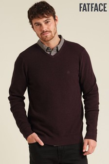 FatFace Purple Cotton Cashmere Stitch Vee Jumper