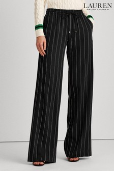 Lauren Ralph Lauren® Black/Cream Pinstripe Wide Leg Trousers
