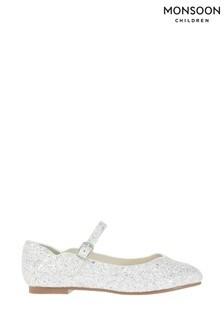 Monsoon Silver Florabelle Super Dazzle Ballerinas