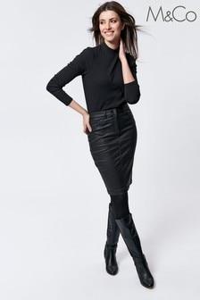 M&Co Black Coated Midi Skirt
