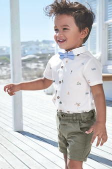 Short Sleeve Transport Print Shirt With Bow Tie (3mths-7yrs)