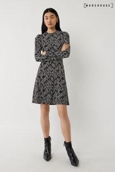 Warehouse Black Chevron Puff Sleeve Dress