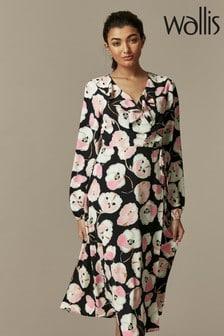 Wallis Black Abstract Poppy Midi Dress