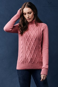 Crew Clothing Pink Cable Roll Neck Jumper