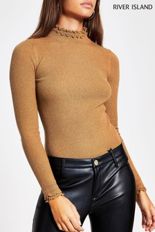 River Island Brown Frill Neck Knitted Bodyfit Top