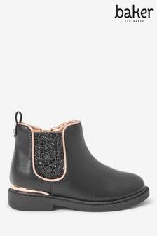 Baker By Ted Baker Black Sparkle Chelsea Boots
