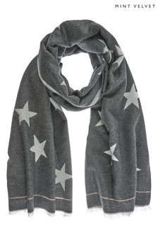 Mint Velvet Charcoal Multi Star Scarf