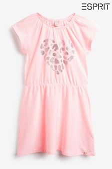 Esprit Pink Leopard Heart Stripe Dress