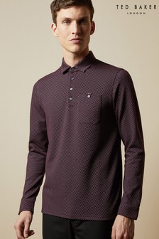Ted Baker Red Outof Long Sleeved Micro Print Poloshirt