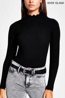חולצת סריג צמודה עם צווארון מלמלה בצבע שחור של River Island