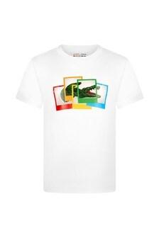 Lacoste Kids Boys White Cotton T-Shirt
