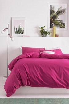 Fuchsia Pink Cotton Rich Duvet Cover And Pillowcase Set