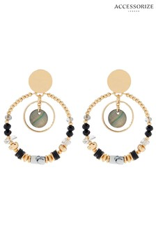 Accessorize Gold Tone Mixed Shell Hoop Earrings