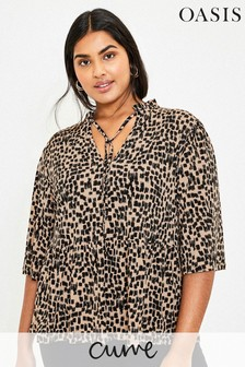 Oasis Curve Natural Brushstroke Blouse
