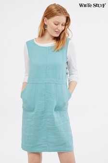 White Stuff Blue Ada Linen Pinny Dress