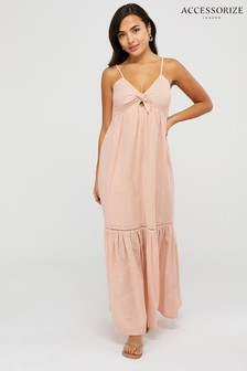 Accessorize Pink Knot Front Maxi Dress
