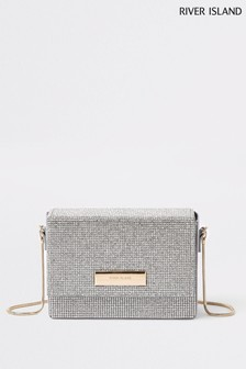 River Island Silver Sparkle Cross Body Bag