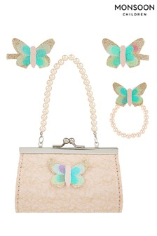 Monsoon Nude Honey Butterfly Bag And Clip Set