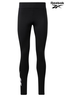Reebok Black Cotton Logo Leggings
