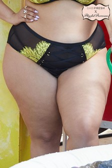 Gabi Fresh Kylie Black/Lime Lace Up High Waist Knickers