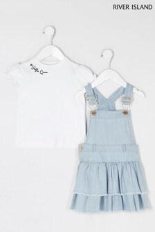 River Island White Puff Sleeve T-Shirt And Blue Rara Pinny Dress Set
