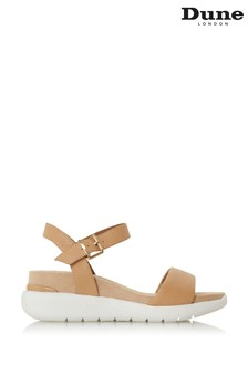 Dune London Kyoto Caramel Leather Flatform Sandals