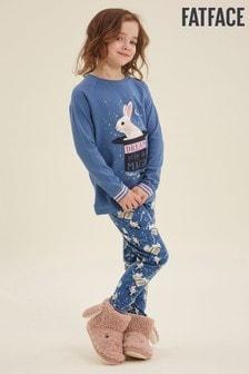 FatFace Blue Bunny Print Jersey Pyjama Set