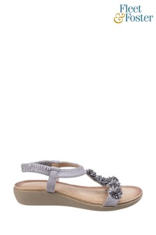Fleet & Foster Grey Matira T-Bar Slingback Sandals