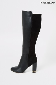 River Island Black Wide Fit Block Heel Boots