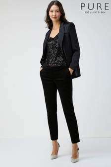 Pure Collection Black Velvet Tailored Ankle Trousers