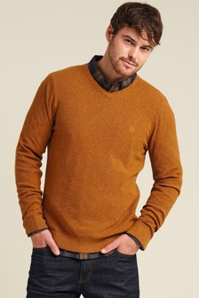FatFace Yellow Cotton Cashmere Stitch Vee Jumper