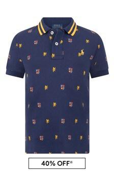Boys Navy Cotton Pique Polo Top