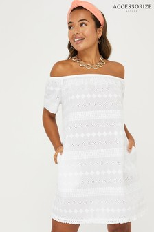 Accessorize White Schiffili Off Shoulder Dress