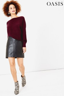 Oasis Black Leather Mini Skirt
