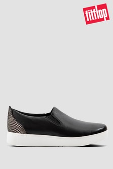 FitFlop™ Black Sania Exotic Leather Slip-On Skate Shoes