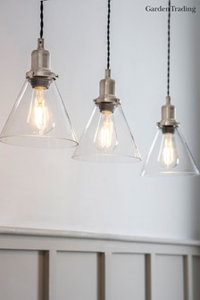 Trio Of Hoxton Cone Pendant Light by Garden Trading