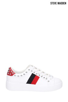 Steve Madden White Belle Lace-Up Trainers